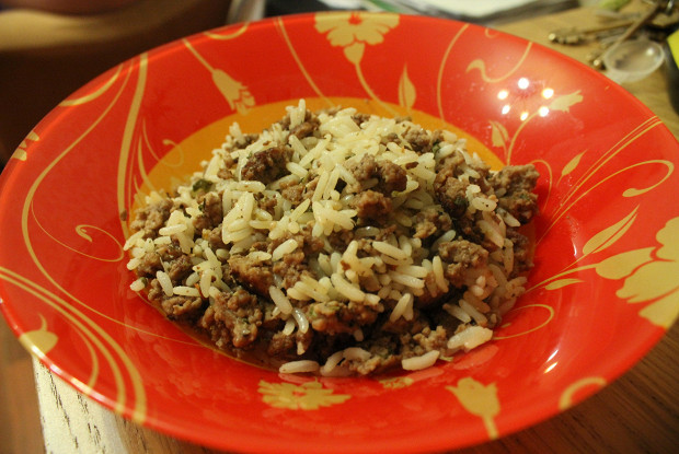 Rice with minced meat and Italian herbs