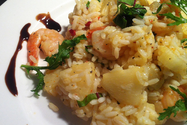 Spicy rice with pineapple, chili, ginger and shrimp