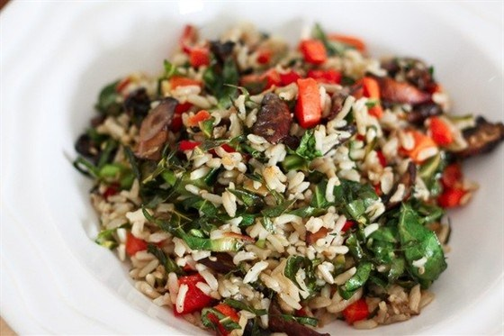 Aromatic rice with vegetables and mushrooms