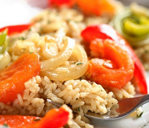 Cold rice with vegetables