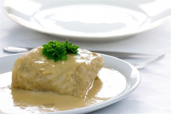 Cabbage rolls with boiled meat, rice and vegetables