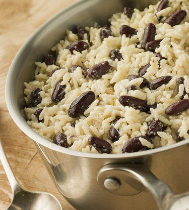 Rice with red beans and Jamaican coconut milk
