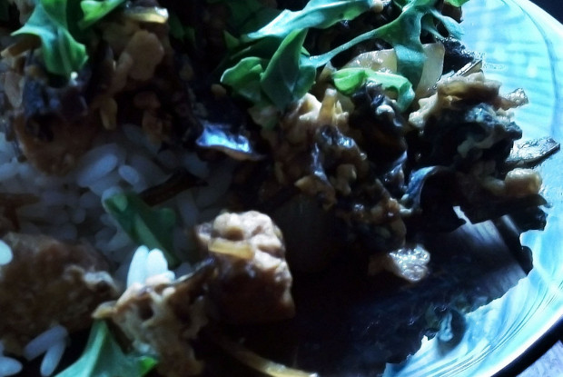 Rice with tofu, onion and tree mushroom dressing