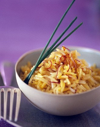 Rice with carrots, lemon and mint