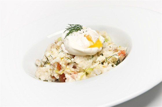 Rice with poached egg
