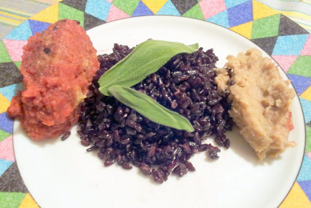 Trio of white beans, beets and black rice with sage