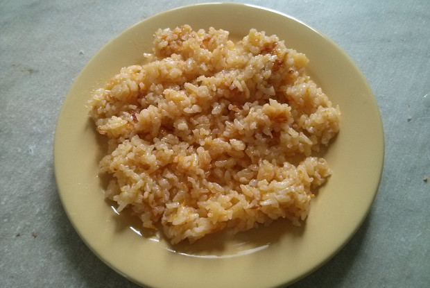 Fried rice with carrots and onions