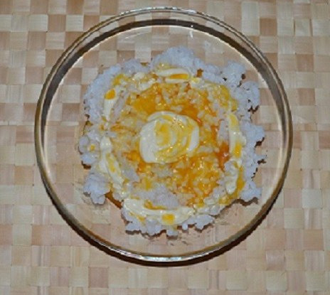 Rice with sea buckthorn syrup and mayonnaise sauce