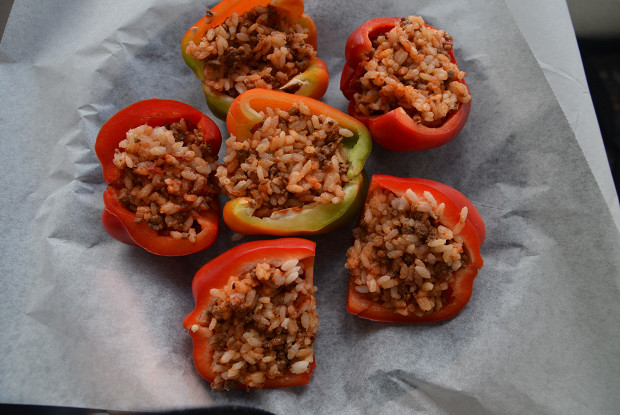 Sweet peppers baked with meat and rice