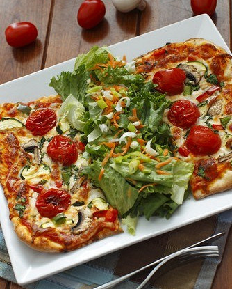 Vegetarian pizza with rice