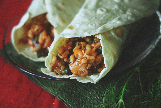 Burrito with chicken and rice