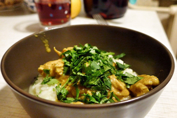 Chicken curry with coconut milk and rice