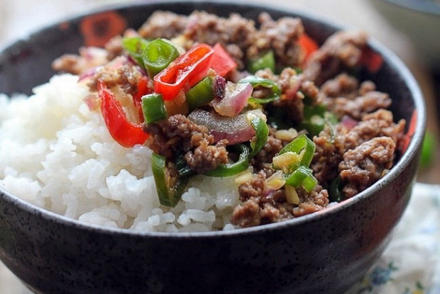 Rice with spicy beef