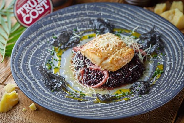 Cod with venere rice risotto