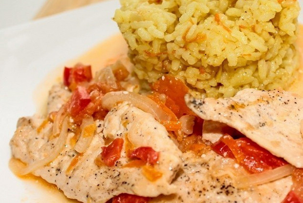 Chicken breast with curry rice garnish