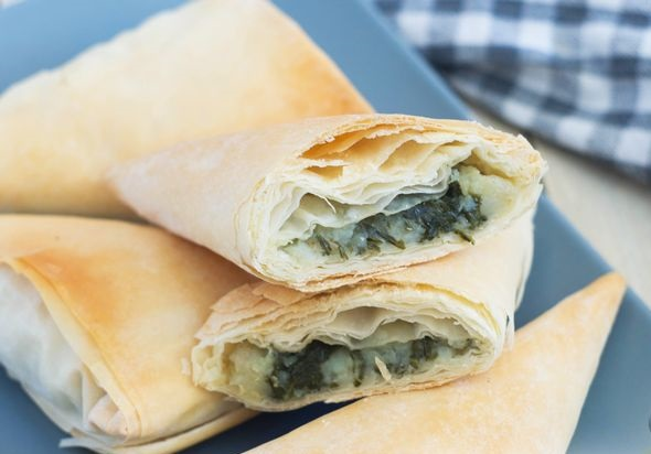 Filo dough pies with potatoes and spinach