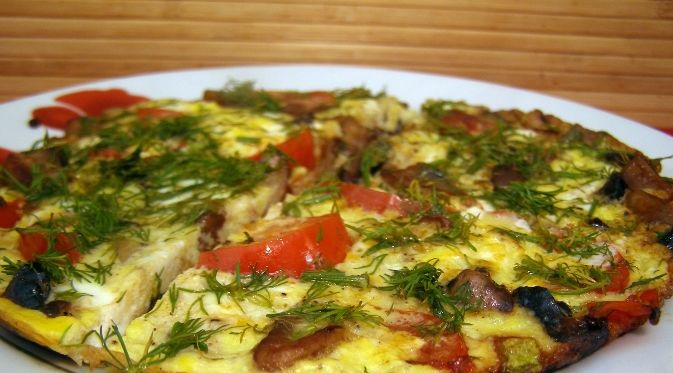 Vegetable omelet with mushrooms