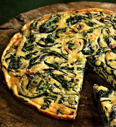 Frittata with spinach and sun-dried tomatoes