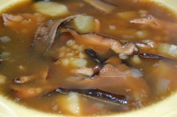 Dried mushroom soup with barley