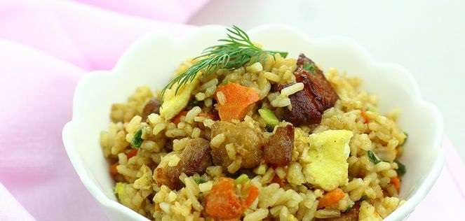 Rice with bacon, scrambled eggs, carrots and soy sauce