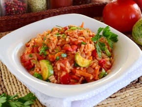 Stewed zucchini with rice and vegetables