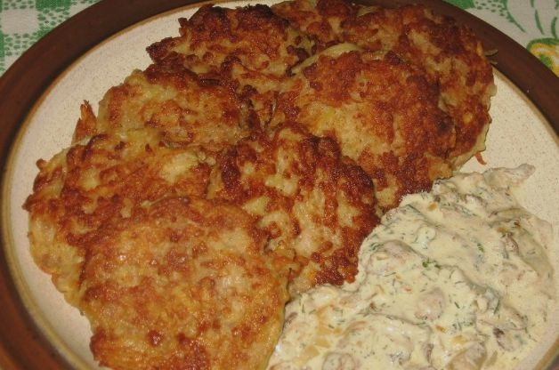 Meat and potato pancakes with mushrooms
