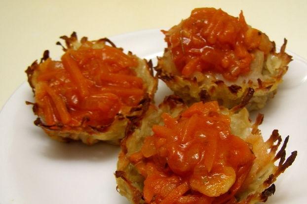 Grated potato tartlets