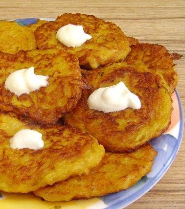 Pumpkin pancakes with potatoes
