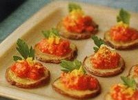 Tomato appetizer on baked potato slices