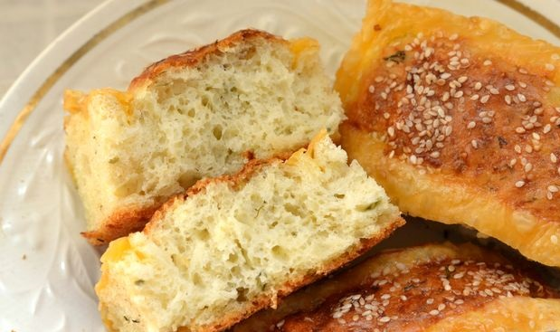 Potato cheese buns with herbs and sesame seeds