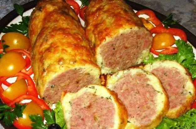 Meatloaf in a cheese and potato casing
