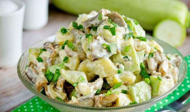 Potato salad with fried oyster mushrooms and zucchini