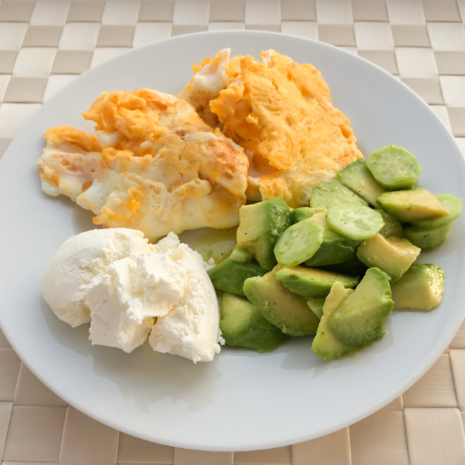 Avocado salad with curd cheese