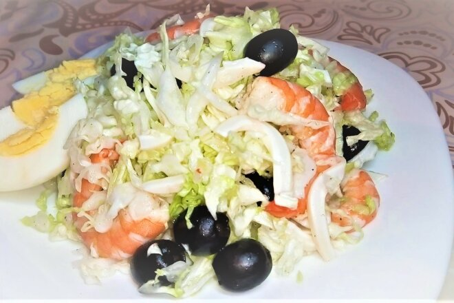 New Year's Salad With Seafood And Olives Without Mayonnaise